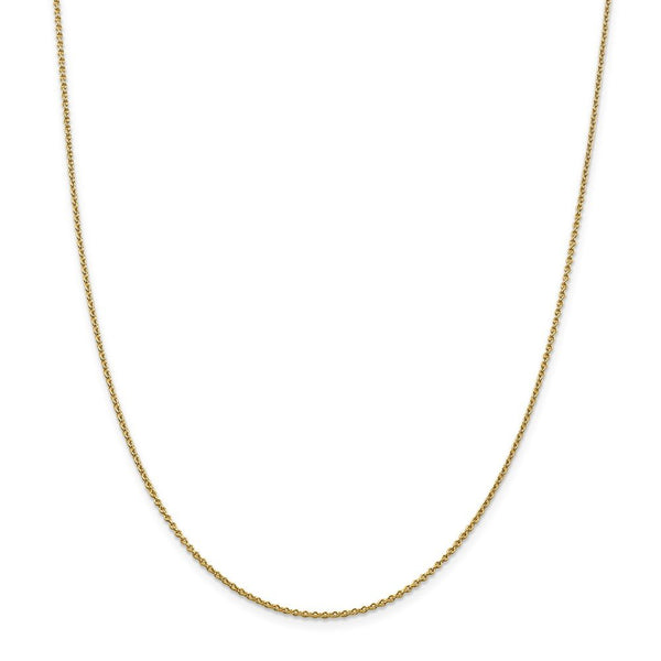 14k Yellow Gold 1.4mm Solid Link Cable Chain Necklace 22 Inch Pendant Charm Fine Jewelry Gifts For Women For Her
