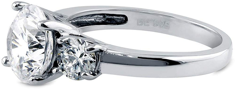 CERTIFIED 3.15 CTW Sterling Silver Round Cubic Zirconia CZ 3-Stone Engagement Ring
