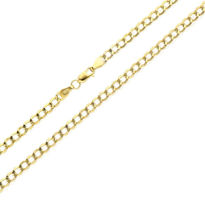 "CERTIFIED 14k Yellow Gold 3.5mm High Polished Cuban Curb Hollow Link Chain Necklace 18""-26"", 20"