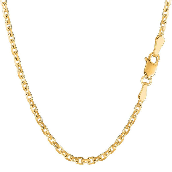 "14K Yellow or White Gold 3.1mm Shiny Diamond Cut Cable Link Chain Necklace for Pendants and Charms with Lobster-Claw Clasp (18"", 20"", 22"", or 24 inch)"