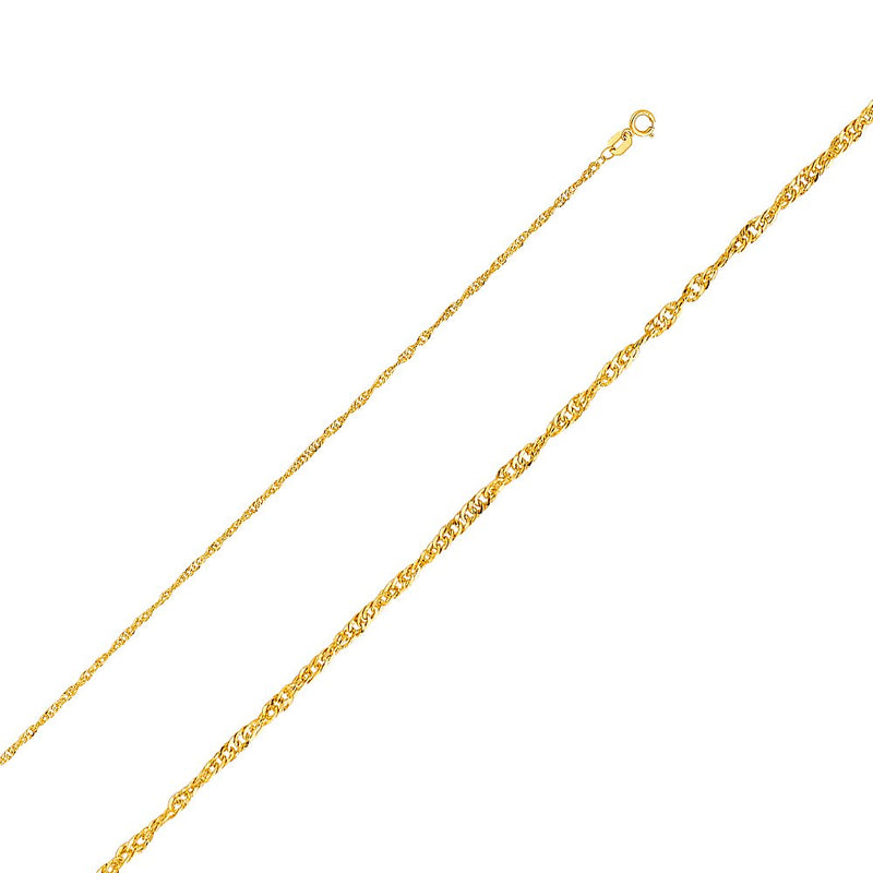 CERTIFIED  14K Yellow Gold Hollow Singapore Chain Necklace