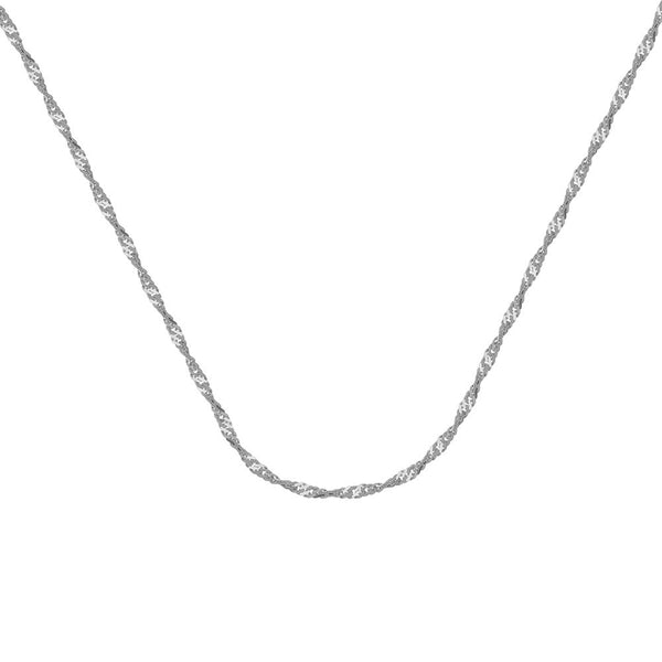 004 CERTIFIED 10kt White Gold Singapore Chain Necklace 1.40mm