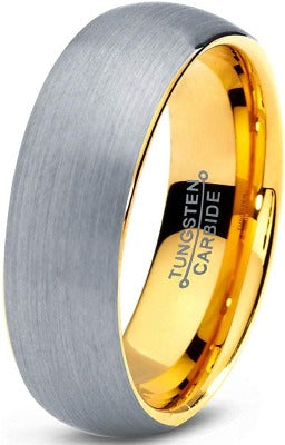 CERTIFIED 7mm Tungsten Wedding Ring Men Women Comfort Fit 18k Yellow Gold Grey Dome