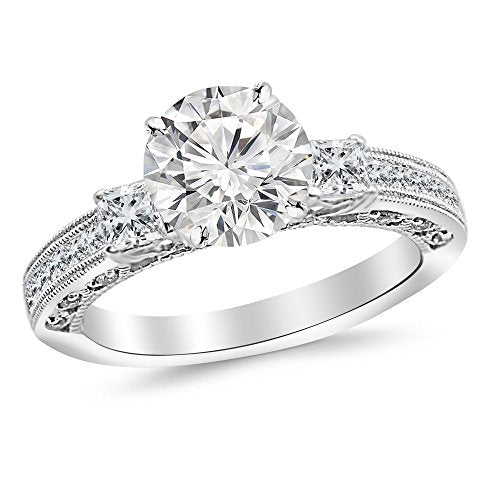 bik 2.54 Carat 14K White Gold Past Present Future 3 Stone Princess Cut Channel Set GIA Certified Round Cut Diamond Engagement Ring (2.04 Ct J Color SI1 Clarity Center Stone)
