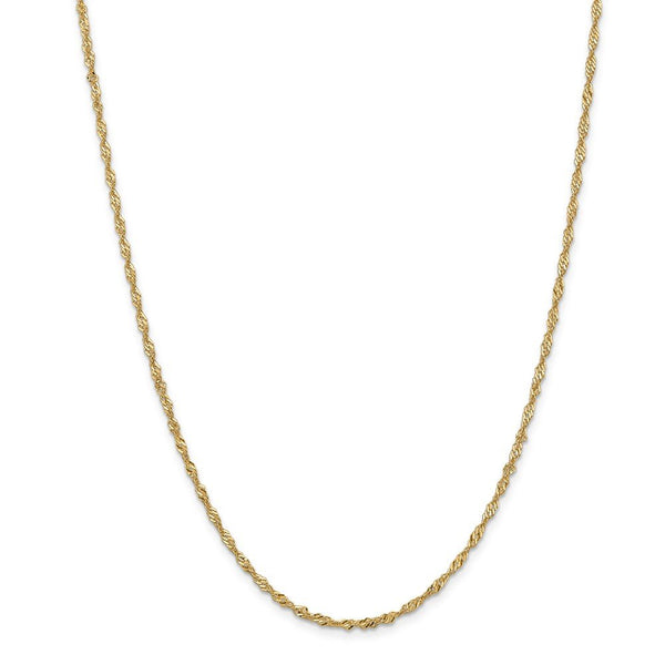 CERTIFIED  14K Yellow Gold 2mm Singapore Chain