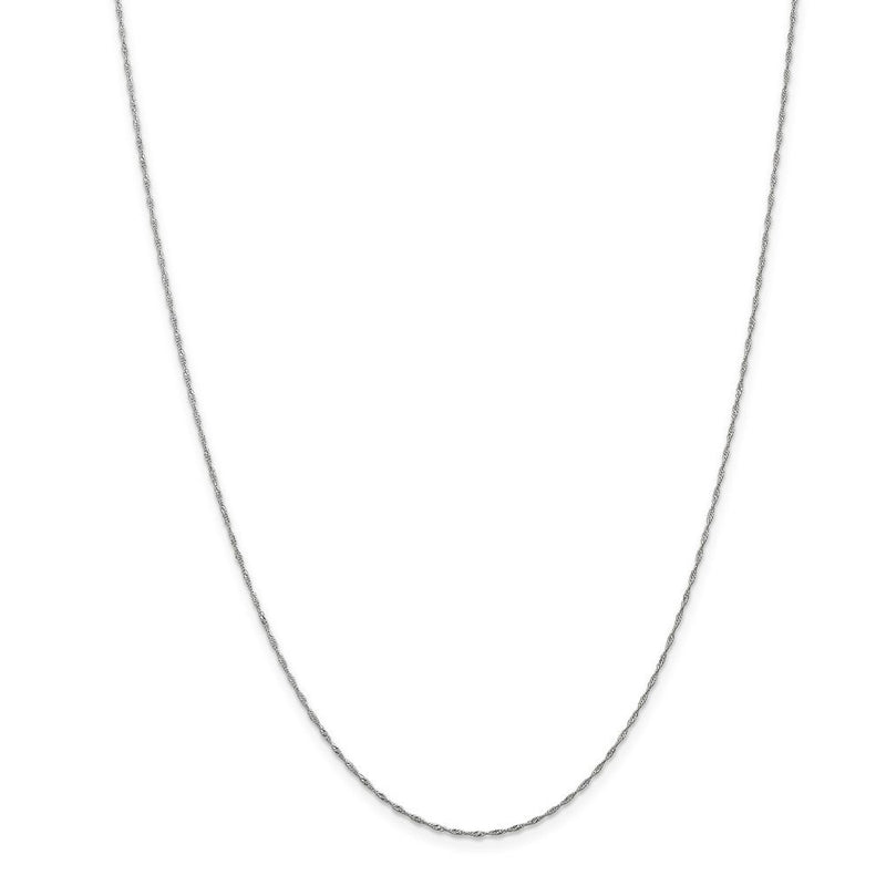 CERTIFIED  14k White Gold 1mm Singapore Chain