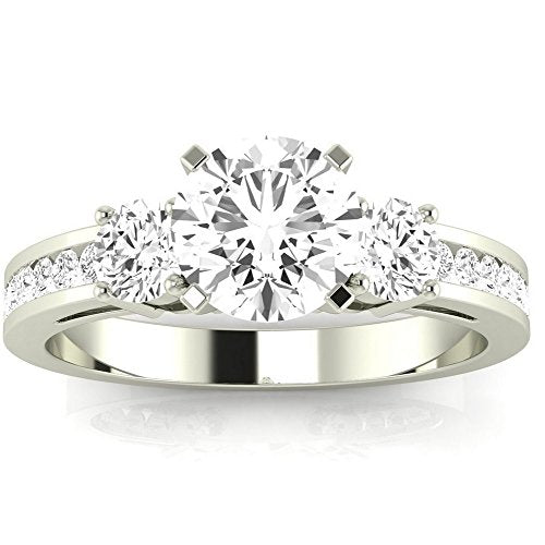 2.5 Carat 14K White Gold Channel Set Past Present Future 3 Stone GIA Certified Round Cut Diamond Engagement Ring (2 Ct E Color VS2 Clarity Center Stone)