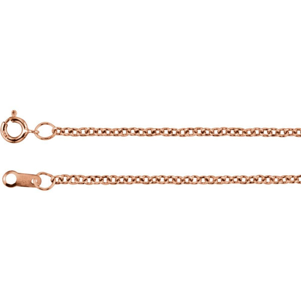 "14K Rose Gold 1.5mm Solid Cable 16"" Chain"