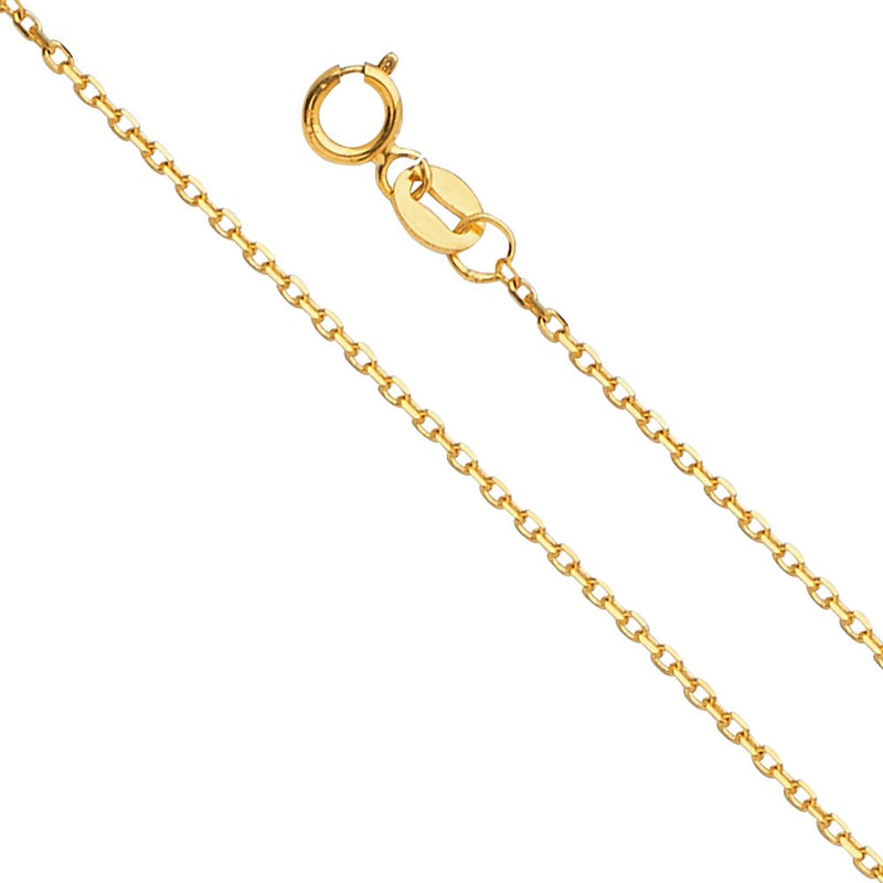 CERTIFIED 14k Yellow Gold 0.9mm Angle Cut Oval Rolo Chain Necklace with Spring Ring Clasp
