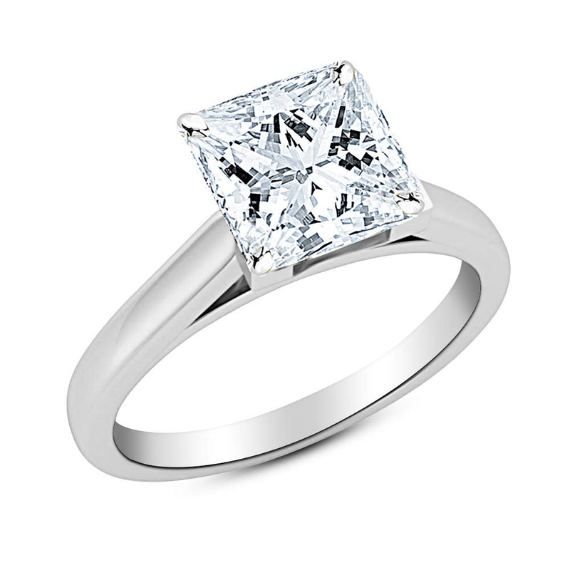 1 Ct GIA Certified Princess Cut Cathedral Solitaire Diamond Engagement Ring 14K White Gold (I Color SI1 Clarity)