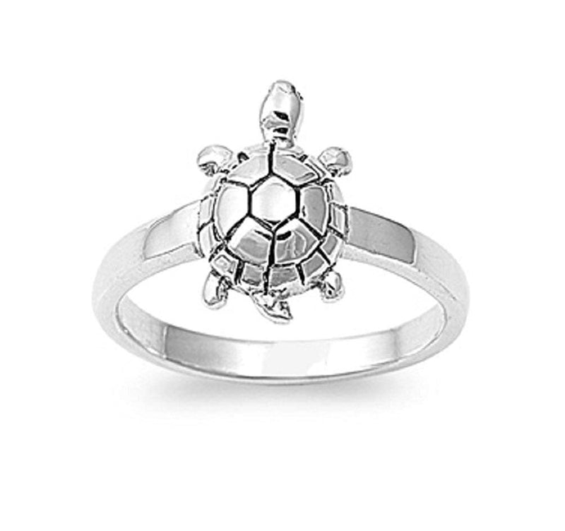 CERTIFIED Solitaire Wood Turtle Ring Sterling Silver 925