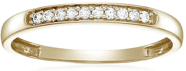 CERTIFIED 1/10 cttw Diamond Wedding Band in 10K  Gold Prong Set