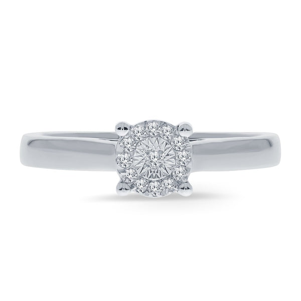 CERTIFIED 0.05ct Sterling Silver Miracle Solitaire Ring Wedding Engagement Ring