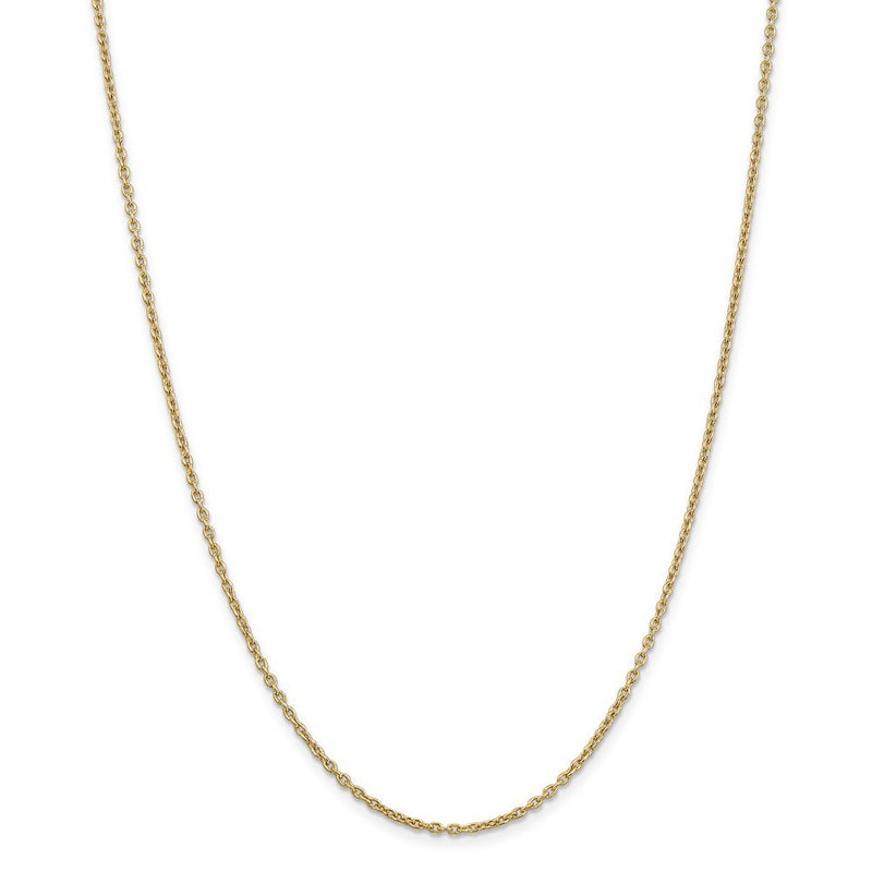 14k Yellow Gold 2mm Link Cable Chain Necklace 22 Inch Pendant Charm Round Fine Jewelry Gifts For Women For Her