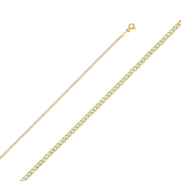 CERTIFIED Wellingsale 14k Two Tone Yellow and White Gold SOLID 2mm Polished Cuban Concaved Curb White Pave Diamond Cut Chain Necklace with Spring Ring Clasp