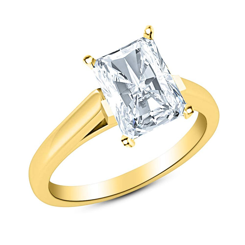 2.51 Ct GIA Certified Radiant Cut Cathedral Solitaire Diamond Engagement Ring 14K White Gold (I Color VS2 Clarity)