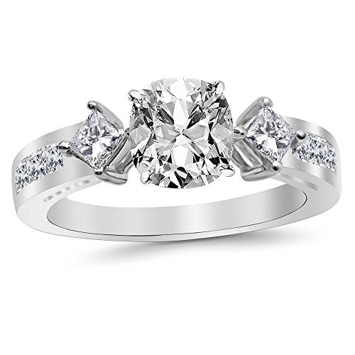 3.15 Ctw 14K White Gold Channel Set 3 Three Stone Princess GIA Certified Diamond Engagement Ring Cushion Cut (2.4 Ct E Color SI2 Clarity Center Stone)