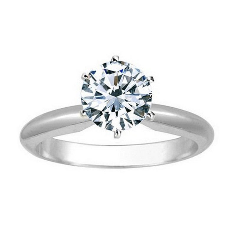 GIA Certified 18K White Gold 6-Prong Round Cut Solitaire Diamond Engagement Ring (0.53 Carat E Color SI2 Clarity)