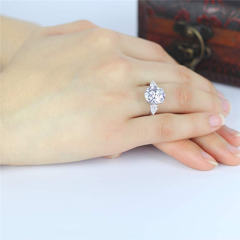 CERTIFIED 4.5 Carats Oval Cubic Zirconia CZ 3 Stone Engagement Wedding 925 Sterling Silver