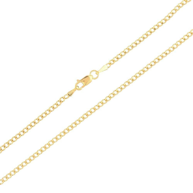 "CERTIFIED 14k Yellow Gold 2mm High Polished Cuban Curb Hollow Link Chain Necklace 16""-26"", 22"