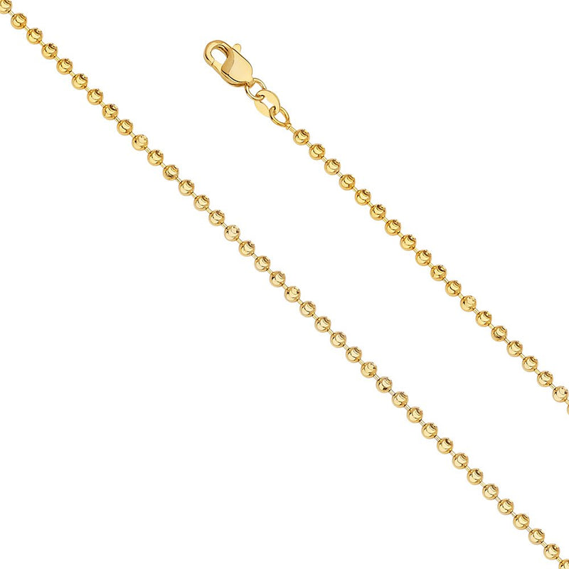 CERTIFIED 14k Yellow Gold 3mm Moon Cut Bead Ball Chain Necklace with Lobster Claw Clasp