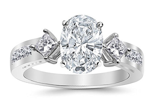bik 2.35 Ctw 14K White Gold Channel Set 3 Three Stone Princess Oval Cut GIA Certified Diamond Engagement Ring (1.6 Ct K Color SI2 Clarity Center Stone)