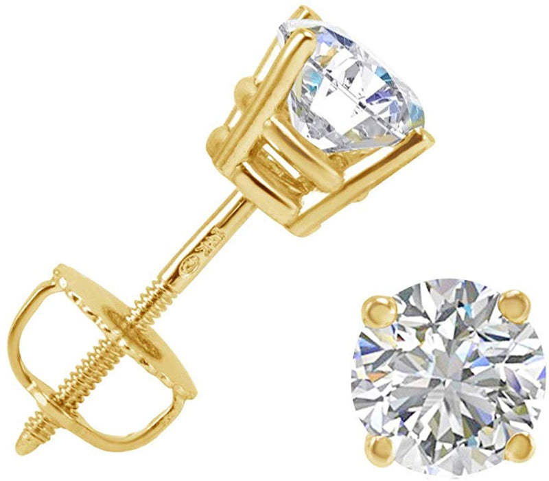 AGS Certified 1ct TW (E-F) Color  Round Diamond Solitaire Stud Earrings in 14K Gold with Screw Backs