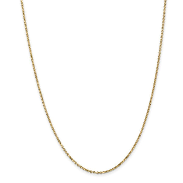 14k Yellow Gold 1.8mm Solid Link Cable Chain Necklace 22 Inch Pendant Charm Fine Jewelry Gifts For Women For Her