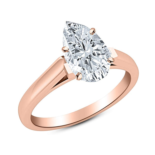 1/2 Ct GIA Certified Pear Cut Cathedral Solitaire Diamond Engagement Ring 14K White Gold (I Color VVS1 Clarity)