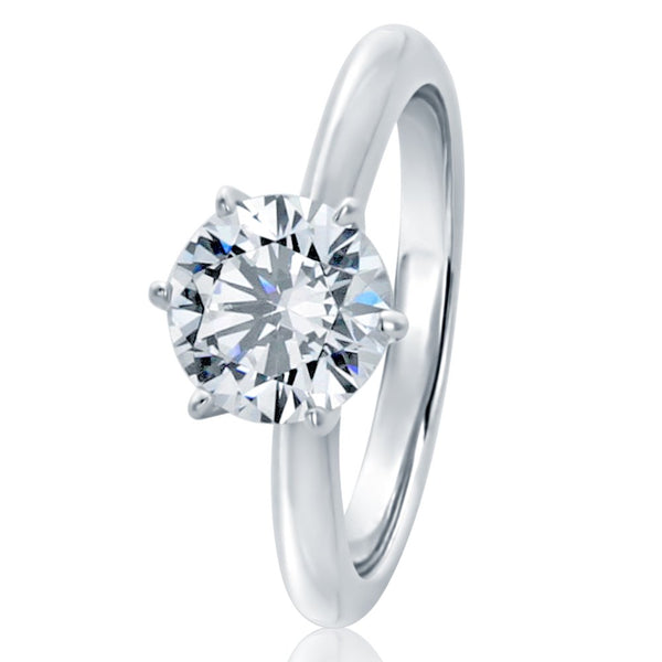 CERTIFIED 1.5ct Sterling Silver Round CZ 6 Prong Solitaire Wedding Engagement Ring