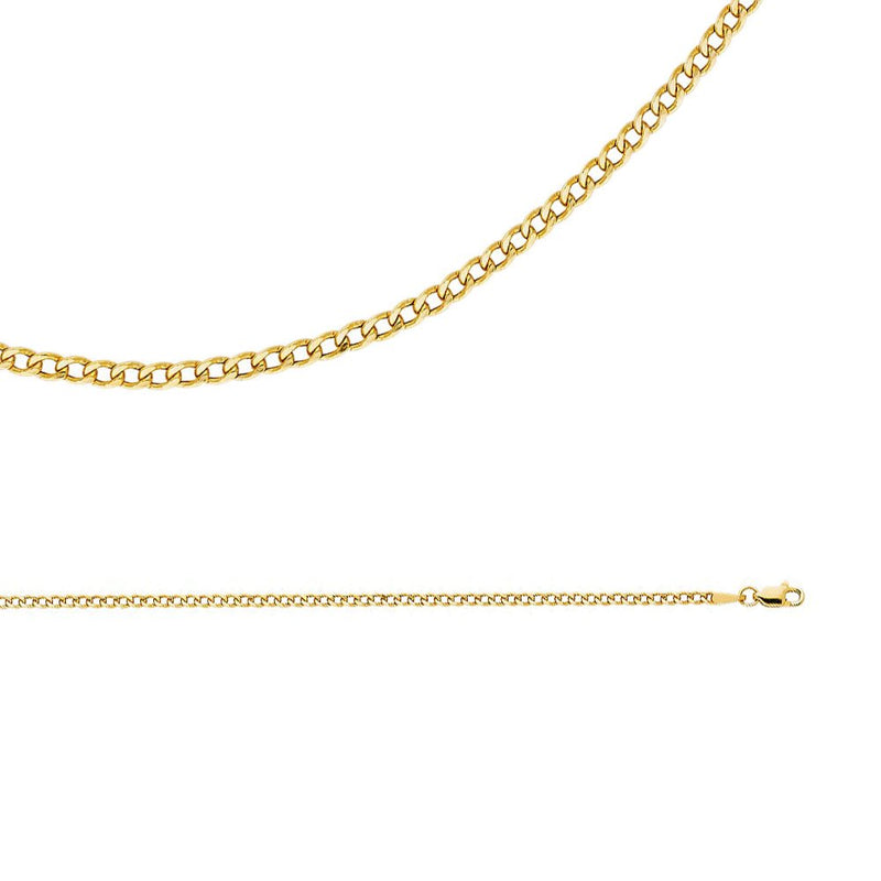 CERTIFIED Cuban Chain Solid 14k Yellow Gold Necklace Hollow Curb Links Bevelled Thin Light , 2.3 mm - 16,18,20,22,24 inch