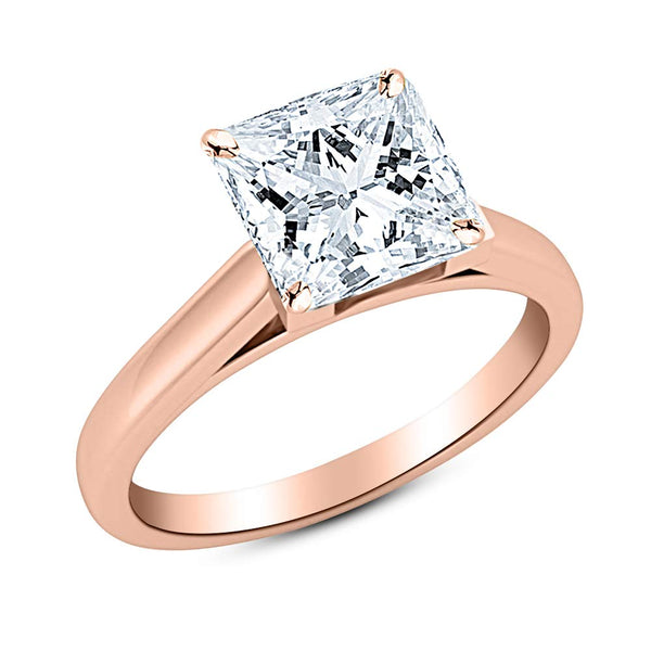 2 Ct GIA Certified Princess Cut Cathedral Solitaire Diamond Engagement Ring 14K White Gold (H Color VS2 Clarity)