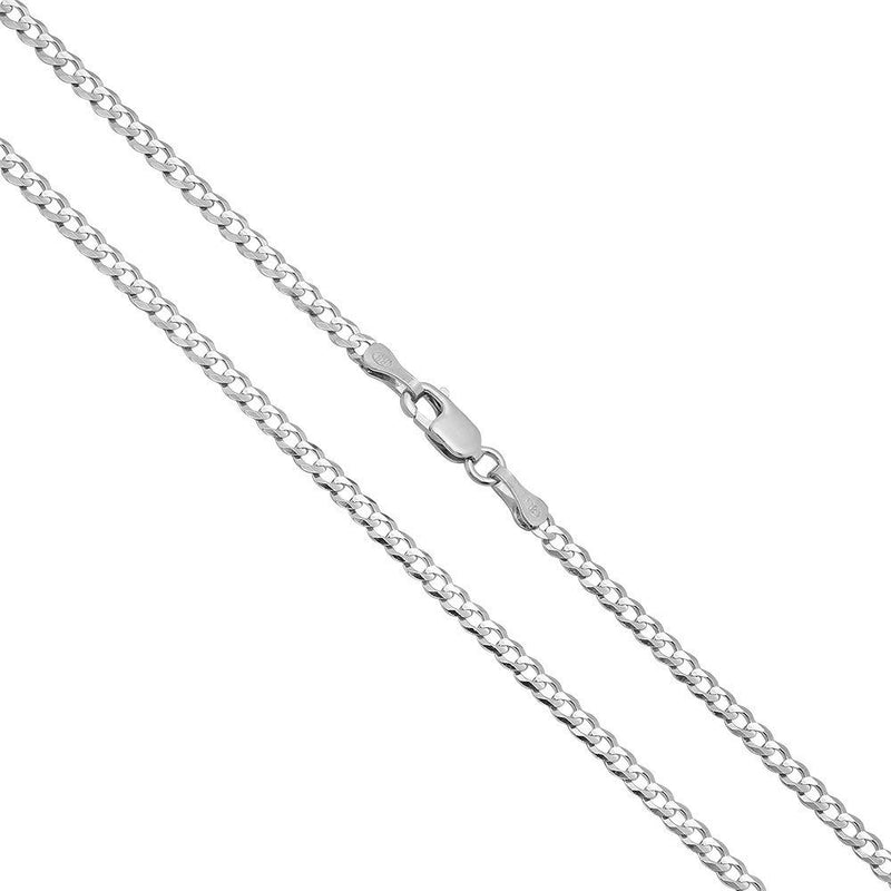 CERTIFIED Joule Shop 14K Solid White Gold 2.5mm Cuban Curb Link Chain Necklace, 16-30""