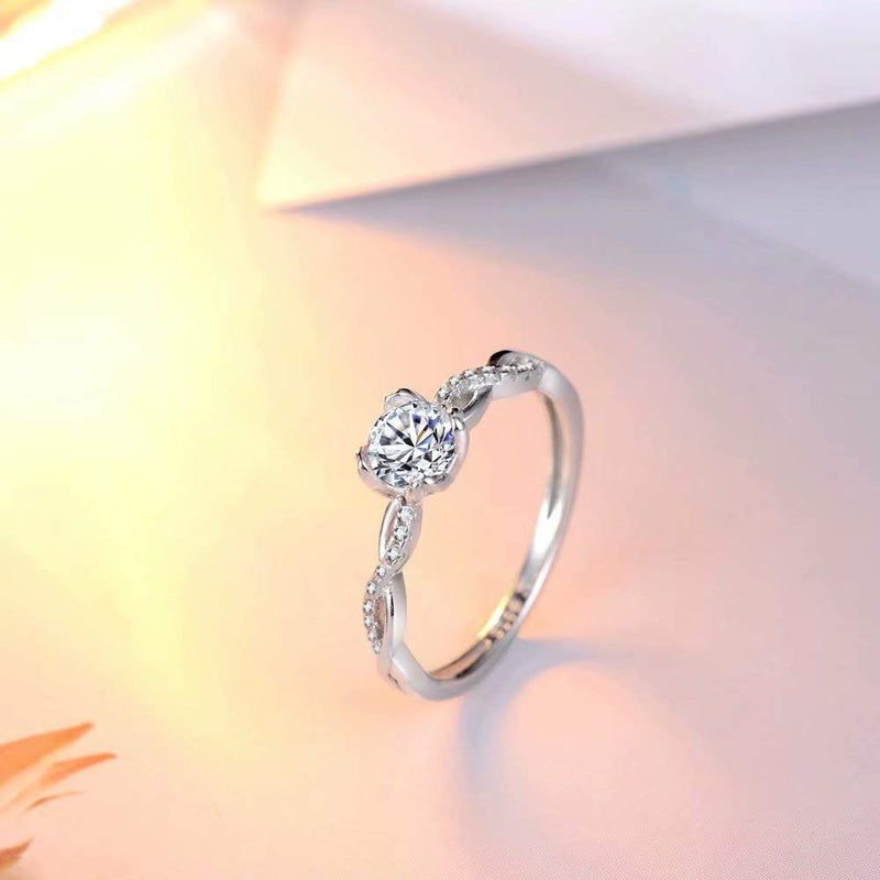 CERTIFIED 0.08 Carats 4 Prong CZ Solitaire Silver Cubic Zirconia Anniversary Infinity Ring