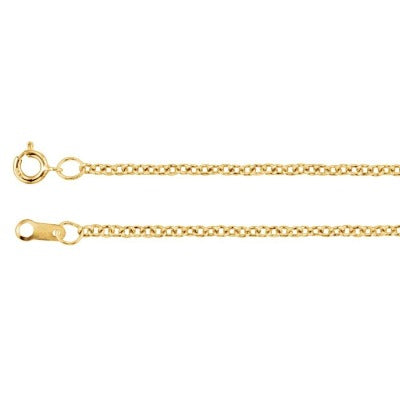 1.5mm 10K Yellow Gold  Solid Cable Chain Necklace 18 inch