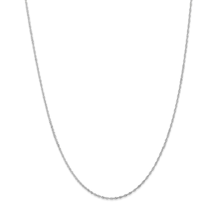 CERTIFIED  14k White Gold 1.1mm Singapore Chain