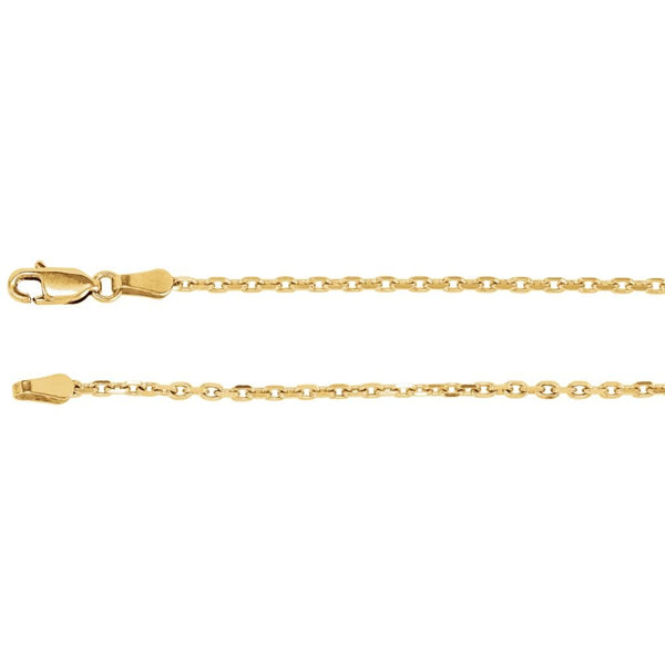 "14K Yellow Gold 2mm Diamond-Cut Cable 18"" Chain"