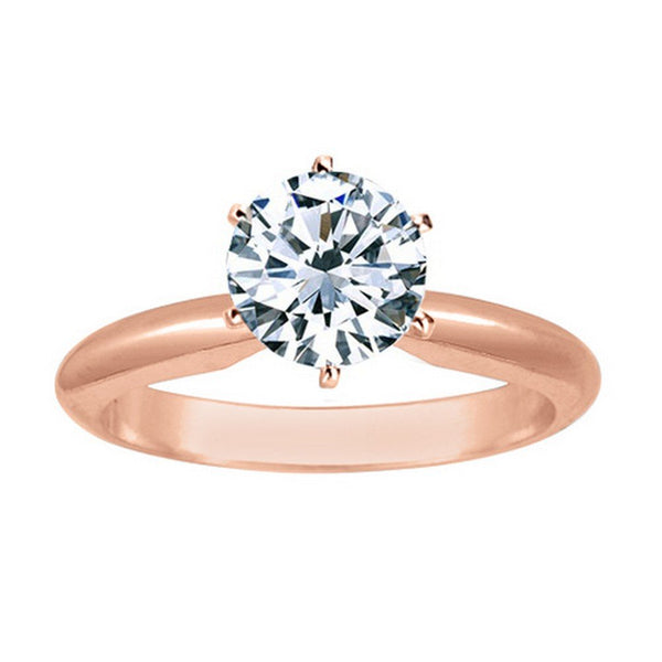 3/4 Ct GIA Certified Round Cut 6 Prong Solitaire Diamond Engagement Ring 14K White Gold (D Color SI2 Clarity)