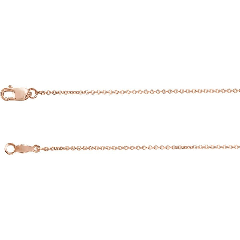 "14K Rose Gold 1mm Solid Cable 20"" Chain"