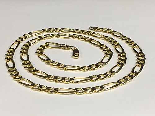 CERTIFIED 6.5mm 14Kt Solid Yellow Gold Classic Figaro Lite Curb Link Chain/Necklace