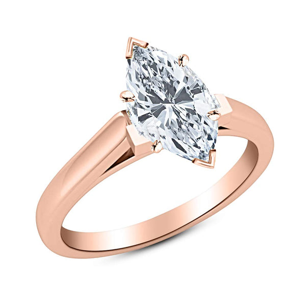 1 Ct GIA Certified Marquise Cut Cathedral Solitaire Diamond Engagement Ring 14K White Gold (K Color SI2 Clarity)