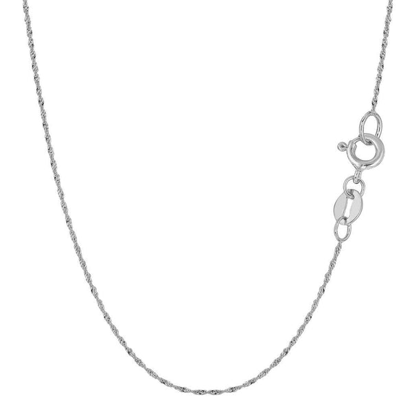 "001 CERTIFIED 14K Yellow or White Gold 0.80mm Shiny Diamond-Cut Classic Singapore Chain Necklace for Pendants and Charms with Spring-Ring Clasp (16"" or 18"" inch)"
