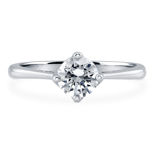 CERTIFIED 0.84 CTW Sterling Silver Solitaire Engagement Swarovski Zirconia Round Ring