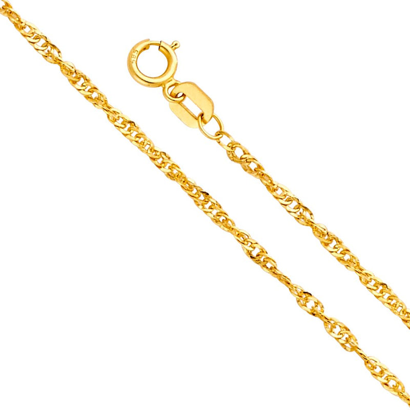 CERTIFIED Wellingsale 14k Yellow Gold 1.5mm Polished HOLLOW Singapore Chain Necklace