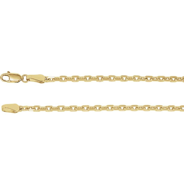 "14K Yellow Gold 2.5mm Diamond-Cut Cable 18"" Chain"