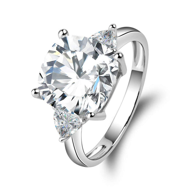 CERTIFIED 5.5 Carats 925 Sterling Silver Cubic Zirconia CZ 3 Stone Engagement Ring