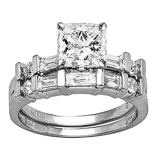 1.22 Carat t.w. GIA Certified Princess Cut 14K White Gold Channel Set Baguette and Round Diamond Wedding Set (G-H Color VS1-VS2 Clarity)