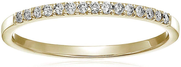CERTIFIED 1/8 cttw Petite Diamond Wedding Band in 10K Gold Prong Set