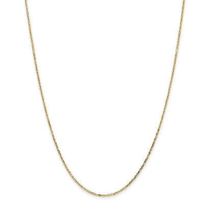 1.40mm 14k Yellow Gold  Link Cable Chain Necklace Pendant Charm Round Fine Jewelry
