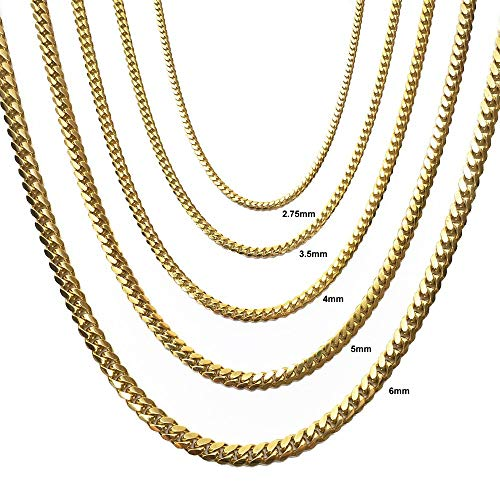 CERTIFIED Joule Shop 14K Solid Yellow Gold 3.5mm Miami Cuban Chain Lobster Clasp, 20 to 30 inches, from